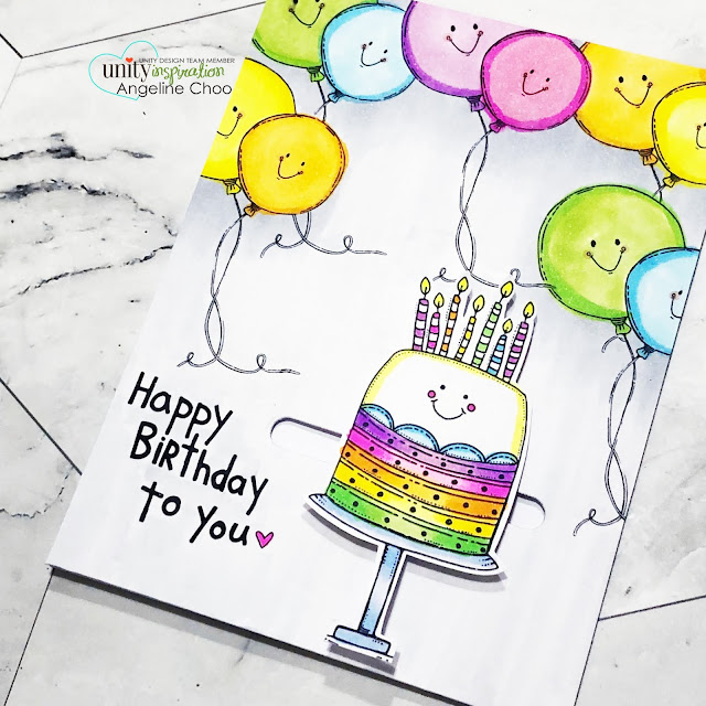 ScrappyScrappy: Happy 11th Birthday Unity Stamp! - Happy Birthday to You #scrappyscrappy #unitystampco #quicktipvideo #youtube #stamp #stamping #cardmaking #birthdaycard #rainbowpastel #copicmarkers #lawnfawn #slideonoverdie #slidercard