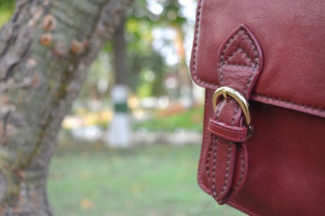 Marca Punto Stich Hidesign Chione Dark Red Leather Bag