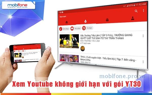 Đăng ký gói YT30 Mobifone, xem Youtube thả ga suốt 30 ngày