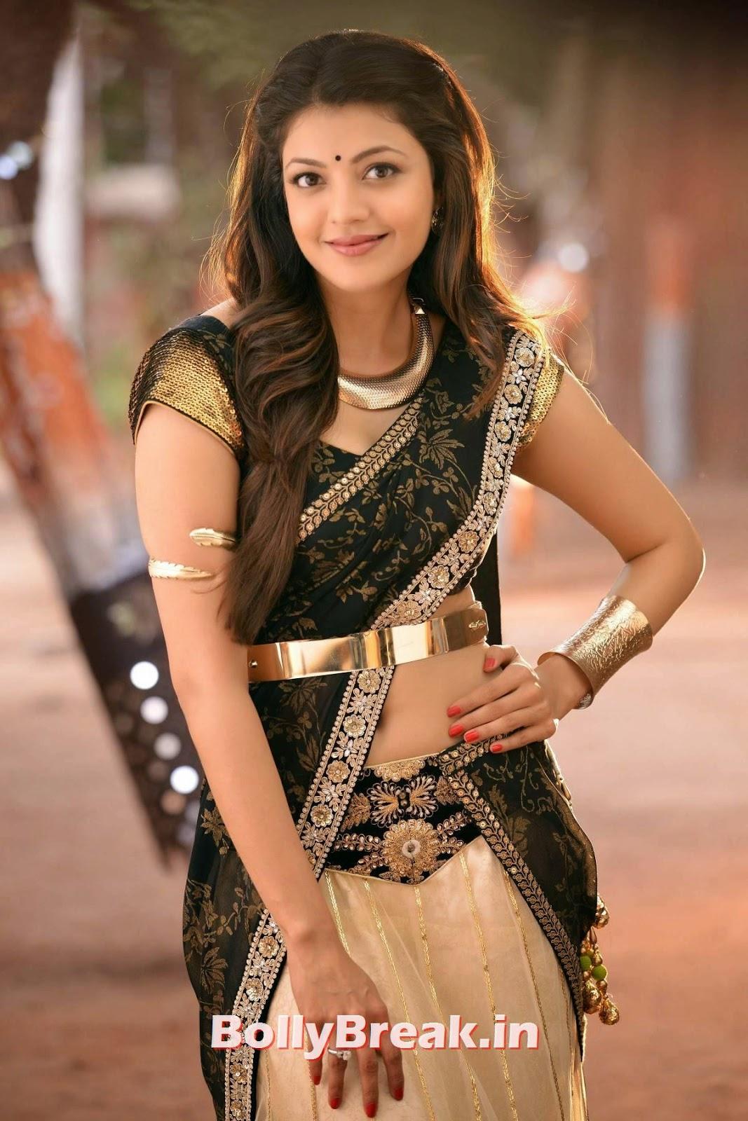 Kajal Aggarwal in hot black saree, navel visible, Kajal Aggarwal in movie Govindudu Andarivadele - HD Hot Pis
