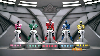The Samurai Rangers in Mega Mode form
