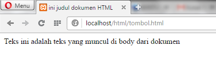 hasil kode pemrograman di browser