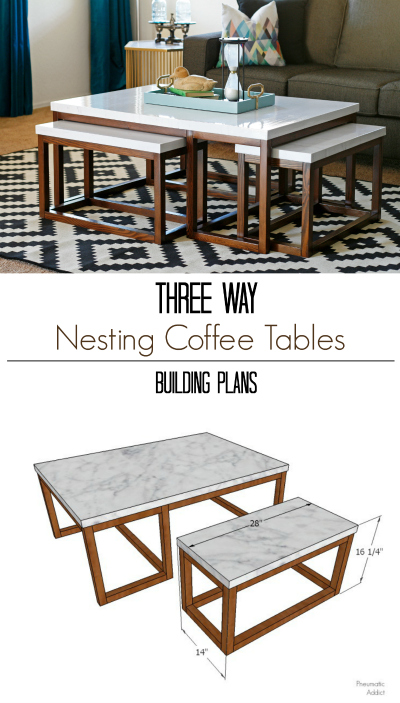 DIY modern three way nesting coffee table building plans