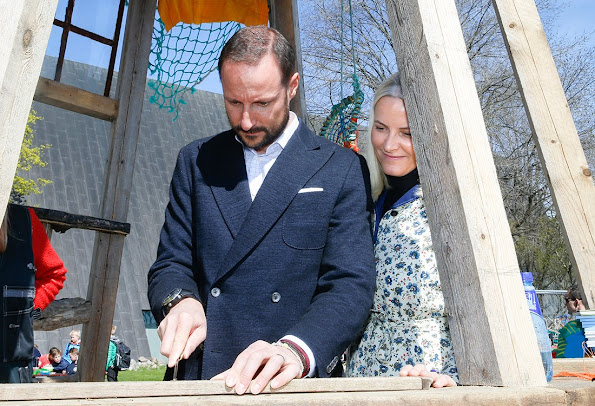 "Princess Mette-Marit and Prince Haakon attended the opening of the exhibition ""Hope for the Ocean"" (Håp for havet) Mette-Marit wore Valantino dress, style"
