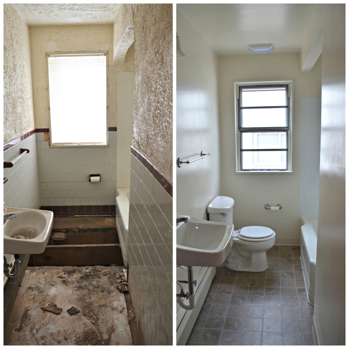 Renovated Apartment Bathroom Before and After