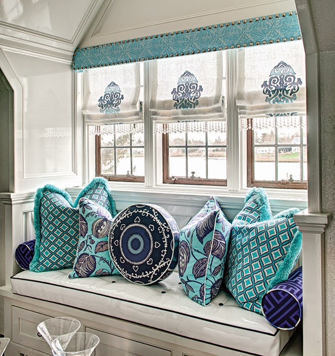 Coastal Home Decor Colorful Reading Nook Moroccan Style Curtains Bay Window Seating