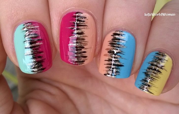 Life World Women: Colorful Summer Nail Art With Black & Gold Stripes