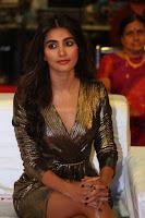 Pooja Hegde looks glamarous in deep neck sleevless short tight golden gown at Duvvada Jagannadham thank you meet function 168.JPG