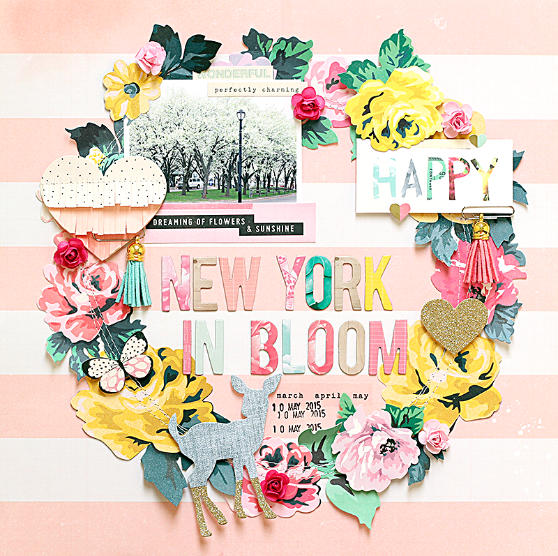 Ashley horton designs crate paper new york in bloom once i had the flowers in place i machine stitched over them to add more texture to the layout i placed the photo at the top left of the layout mightylinksfo