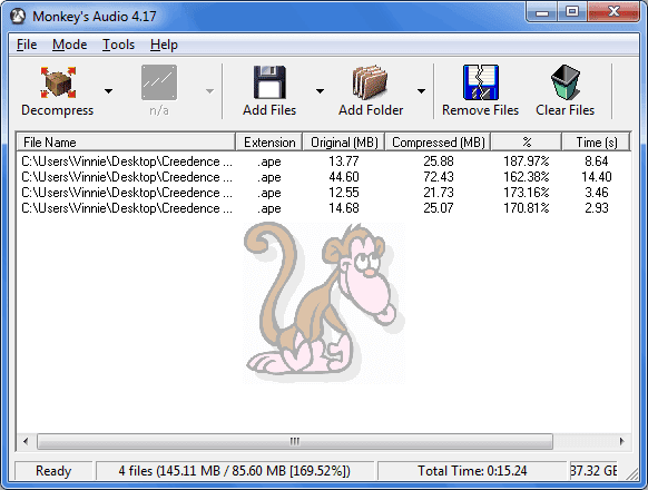 Monkey's Audio decomprimere file audio WAV
