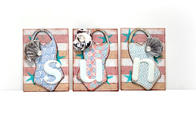 SUN Bathing Suit Artist Trading Card Trio by Dana Tatar for FabScraps