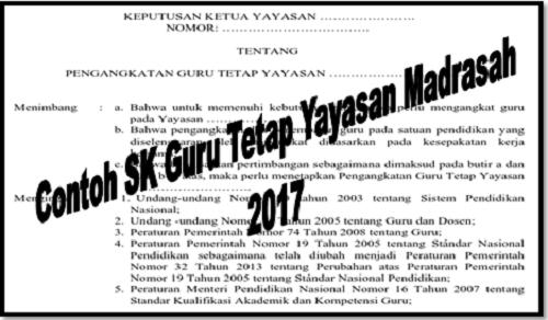 Contoh SK Guru Tetap Yayasan Madrasah 2017
