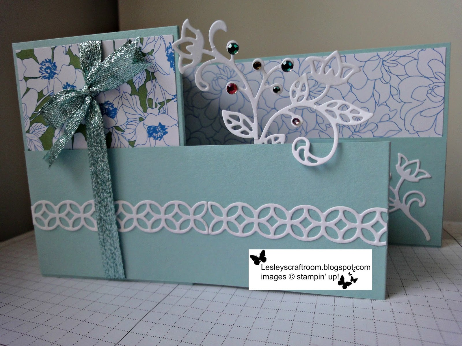 Lesley 39 s craft room double z fold in blue for Stampin pretty craft room