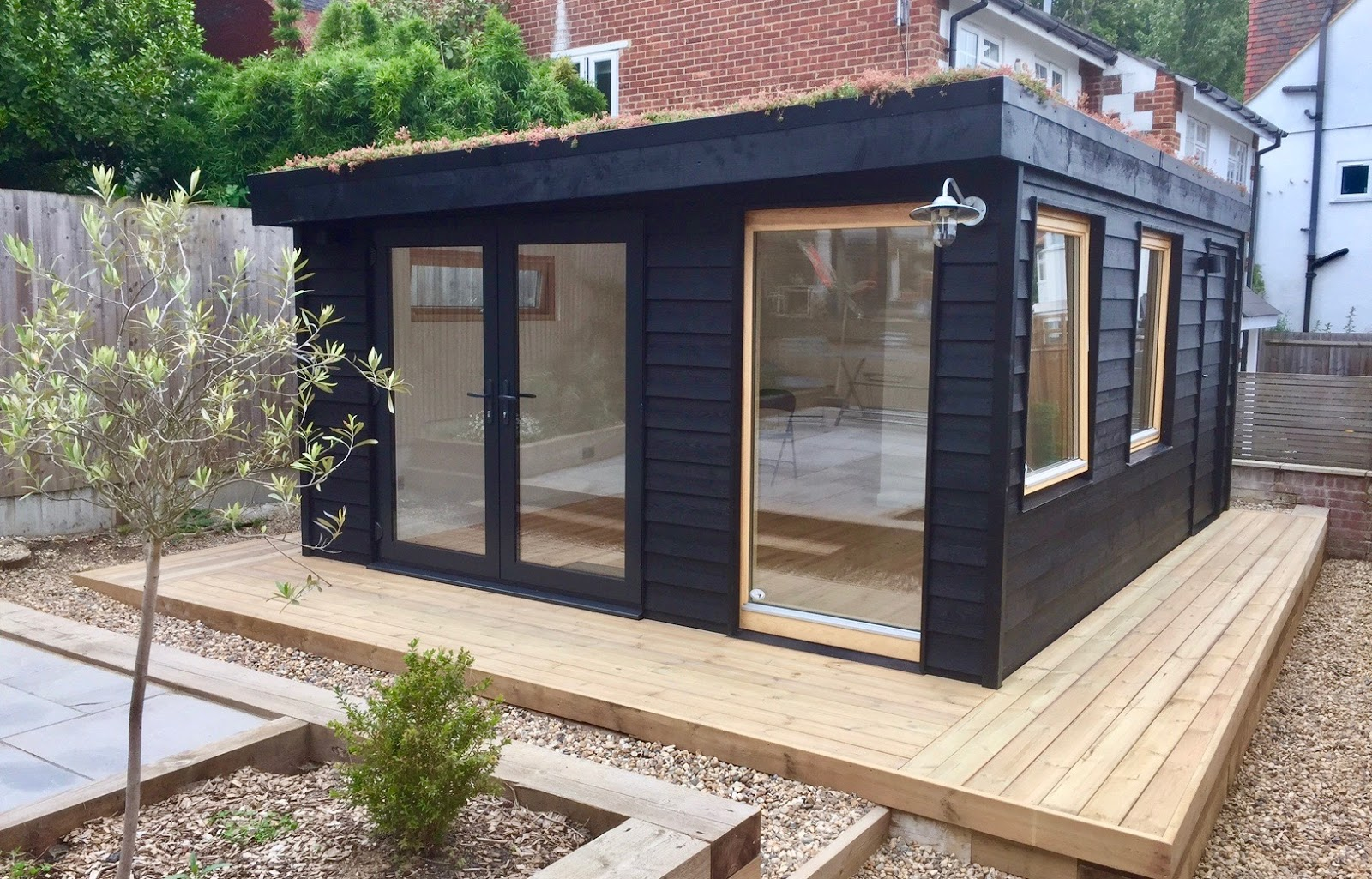 Shedworking black garden office for Oeco garden office