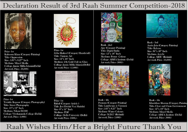 Declaration Result of 3rd Raah Summer Competition-2018     Dear Artists,     Congratulations! This is to inform you that you all had done a great job in  3rd Raah Summer Competition Dated 30th July 2018 organized by The Royal Academy of Art's Hope (The RAAH).     We had a lot of difficulty to find the winners among them all.     Once again we CONGRATULATE All Artist who participate in 3rd Raah Summer Competition-2018     We will Email the Certificates and Catalogue all the Participants very soon.     Kindly find attached Catalogue along with this mail.  KEEP DOING WELL     Thanks & Best Regards     The Royal Academy of Art's Hope (The RAAH)   theraah23@gmail.com  Call at no. 8826223495