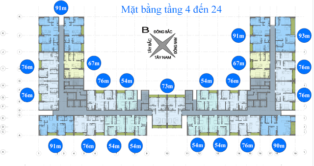 Mặt bằng tầng 4 - 24 chung cư Anland Nam Cường