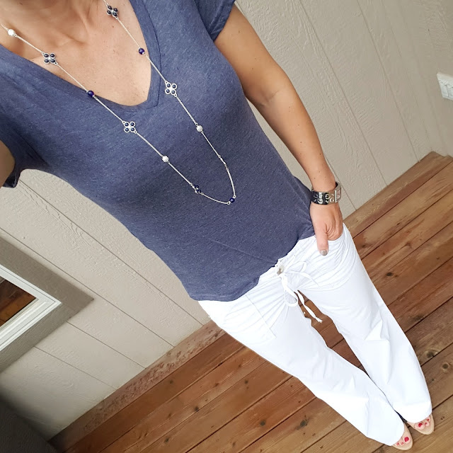 BP V-Neck (2 for $28) // Gap Factory Tie Waist Pants (similar) // Ivanka Trump Wedges (similar) // Guess Watch (similar on sale for $17, reg $25) // Old Navy Necklace - find it in store
