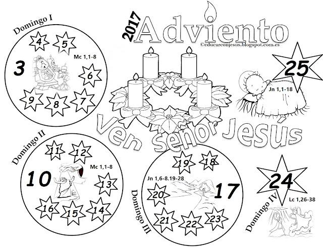 Calendario Adviento Infantil.Parroquia La Inmaculada Calendario Adviento 2017 Para Ninos