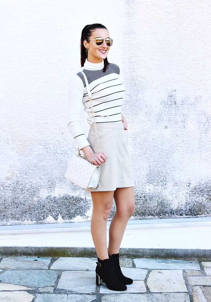Best neutral looks.Mexx mini skirt.Beige striped turtleneck.Zara chain purse.Fashion Mark brown booties.H&M sunglasses, earrings and cuff.