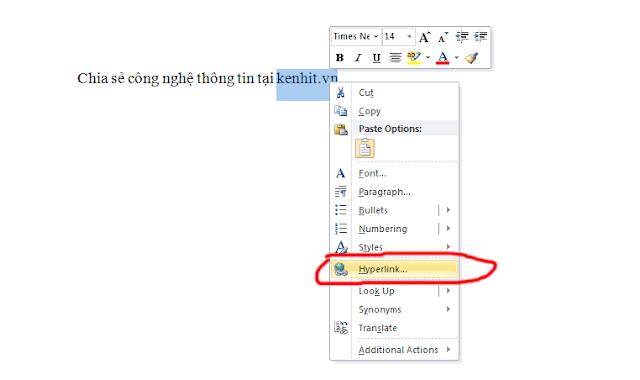 Hướng dẫn tạo liên kết Hyperlink trong văn bản word