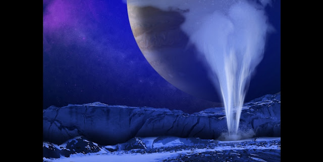 This is an artist's concept of a plume of water vapor thought to be ejected off the frigid, icy surface of the Jovian moon Europa.  Image credit: NASA/ESA/K. Retherford/SWRI