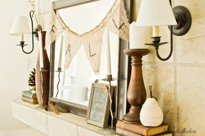 Fall Mantel | No-Sew Burlap Banner | Mirror, Chalkboard, Books, Candles | personallyandrea.com