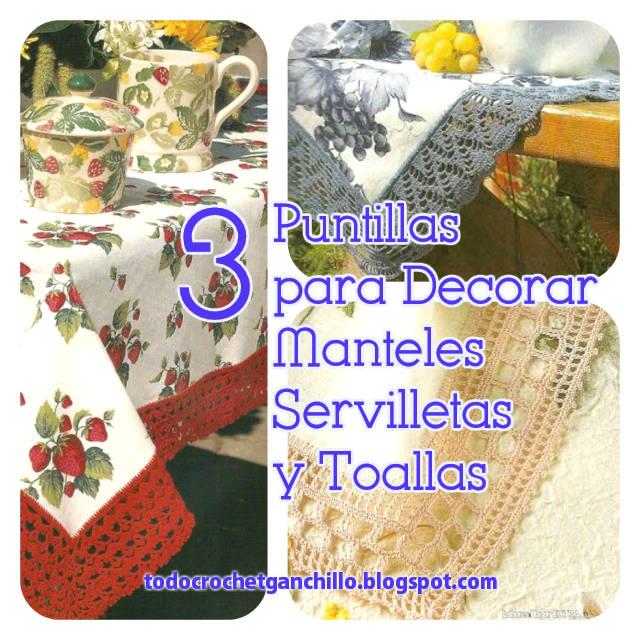 3 patrones de puntillas para decorar manteles y servilletas