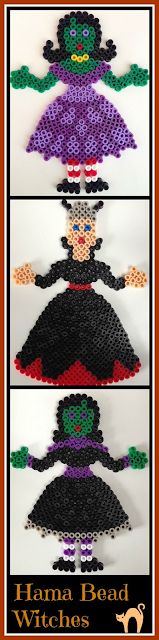 Hama bead witch designs for Halloween