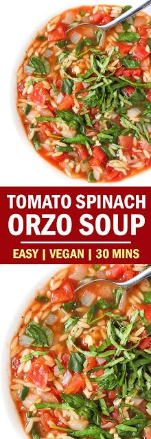 Tomato Spínach Orzo Soup