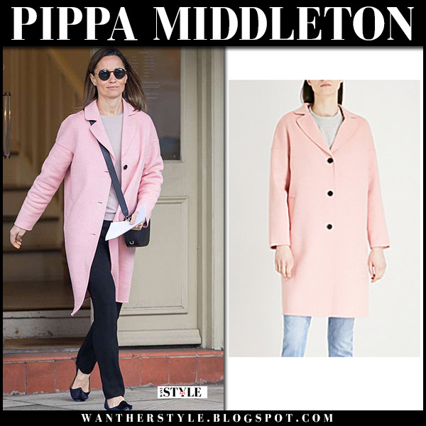 Pippa Middleton in pink wool coat claudie pierlot street fashion may 1 royal family