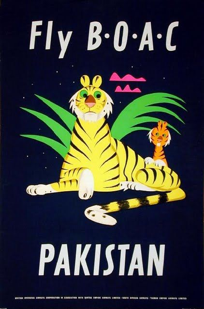 FLY B.O.A.C - Pakistan Vintage Travel Poster