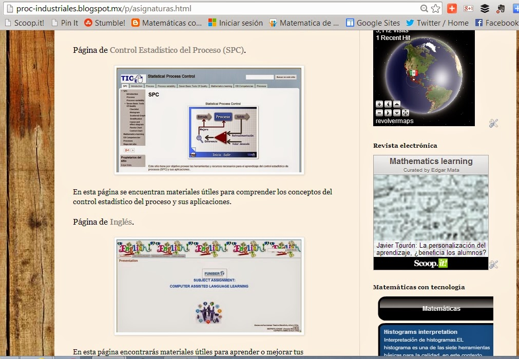 Web pages for complementary resources to different university subjects.