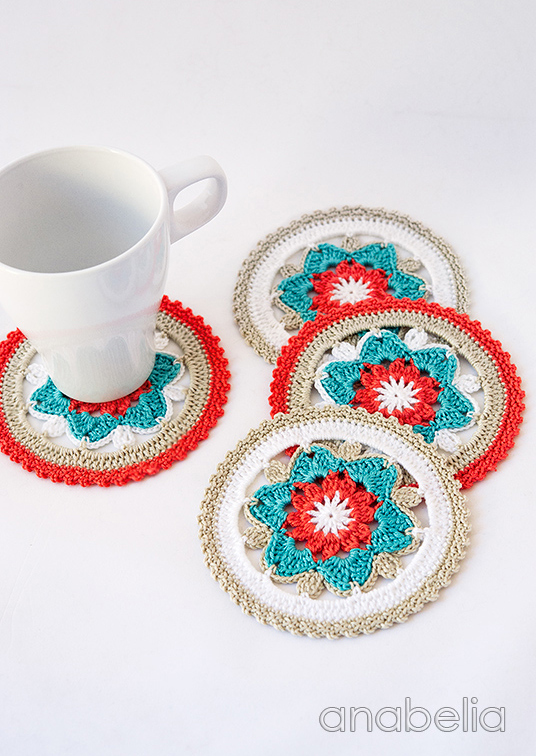 Daffodil crochet coasters by Anabelia Craft Design