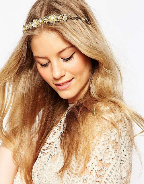 asos wedding gold headband, gold bride hair accessory,