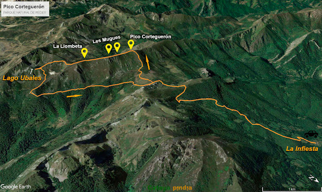 Mapa de la ruta al Pico Corteguerón y al Lago Ubales desde el concejo asturiano de Caso.