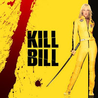 Kill Bill Movie poster with Uma Thurman and her drawn sword