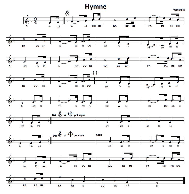 Musica E Spartiti Gratis Per Flauto Dolce Hymne Vangelis Pasta