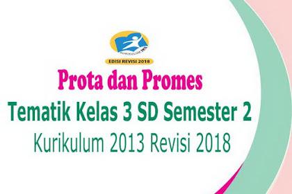 Prota dan Promes Tematik Kelas 3 SD Semester 2 Kurikulum 2013 Revisi 2018