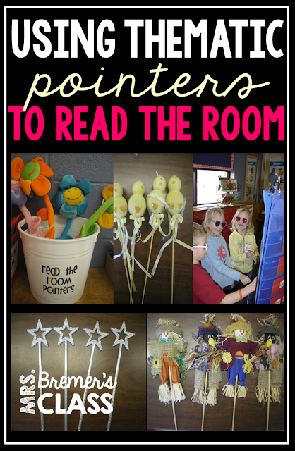 Using thematic pointers to Read the Room in Kindergarten- this activity promotes active learning as they go around the classroom reading.