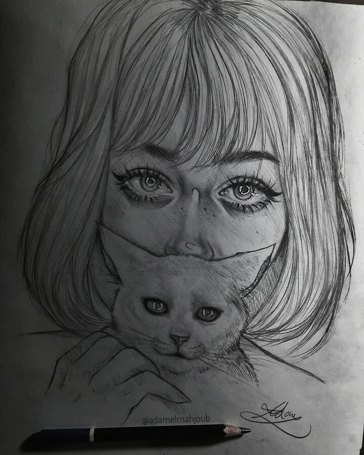 01-The-Lady-and-Cat-s-Eyes-Drawings-Adam-Almahjoub-www-designstack-co