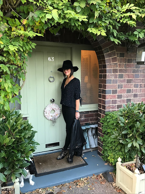 My Midlife Fashion, The womens society boutique, ida by donna ida rizzo blackest skinny jeans, second female semi shirt black, zara leather biker jacket, felt fedora hat, chloe susanna boots