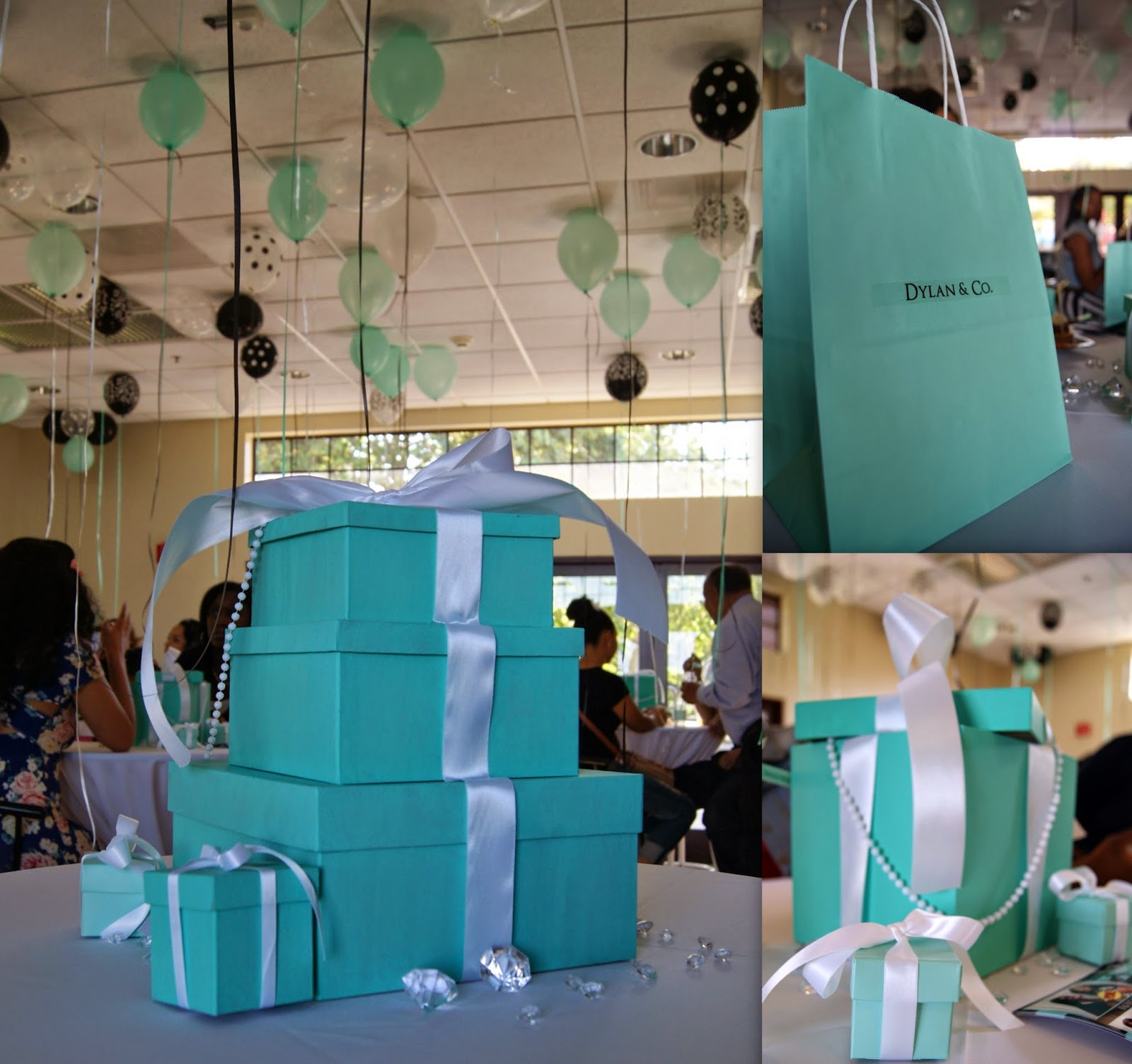 allthingsslim, tiffany box centerpieces, party inspiration, feather centerpieces,
