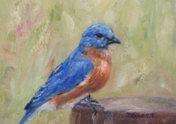 Daily Painting Projects Bluebird Stump Oil Bird Art Wildlife Animals Fowl