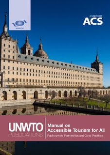 The front cover of the UNWTO manual on accessible Tourism for All showing a heritage building