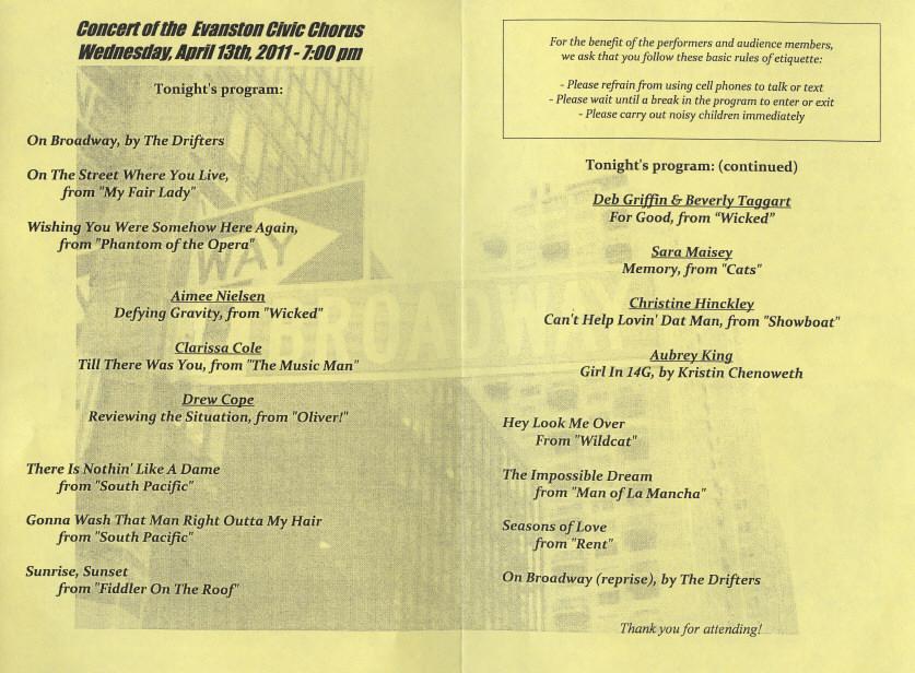 Evanston Civic Chorus On Broadway - A Great Concert! - April 13, 2011