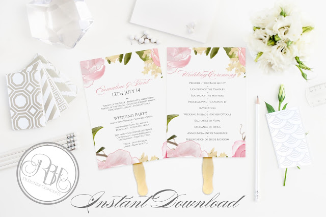Dusty Pink Peonies, Roses, Wedding Program, template