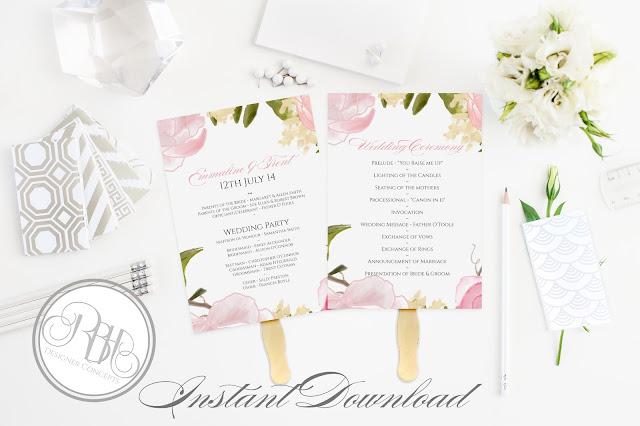 Dusty Pink Peonies, Roses, Wedding Program, template