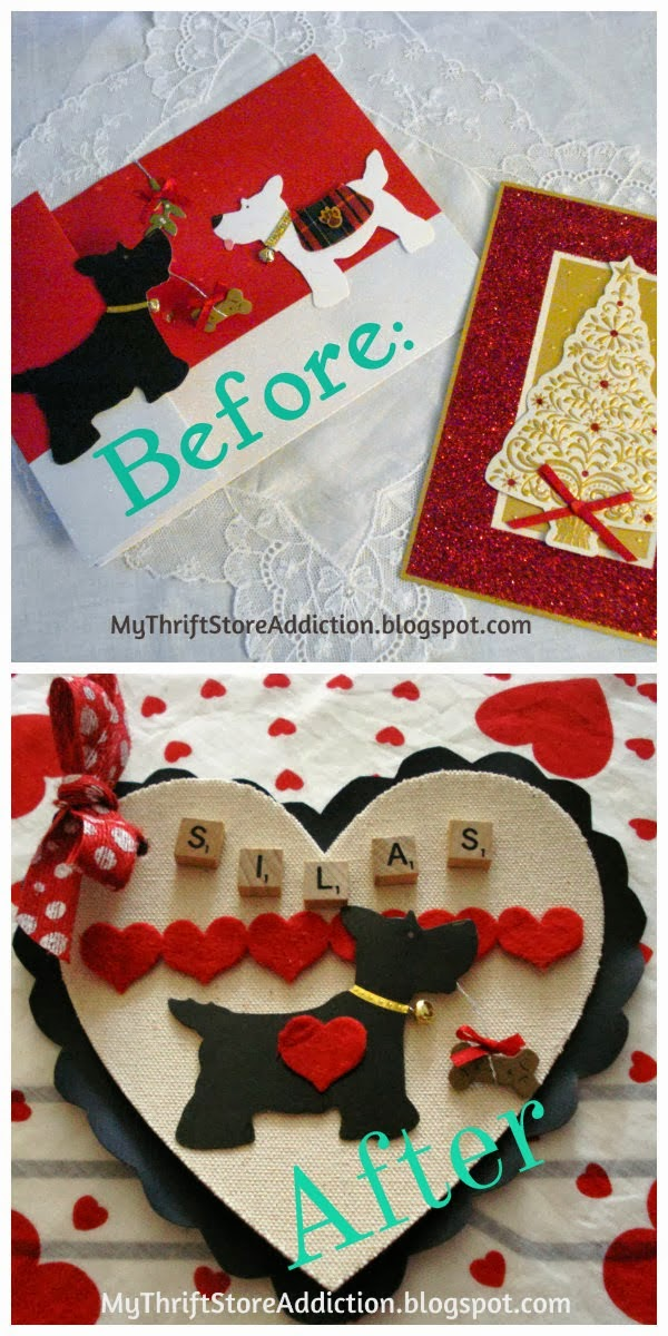 Repurposed Christmas card Valentines