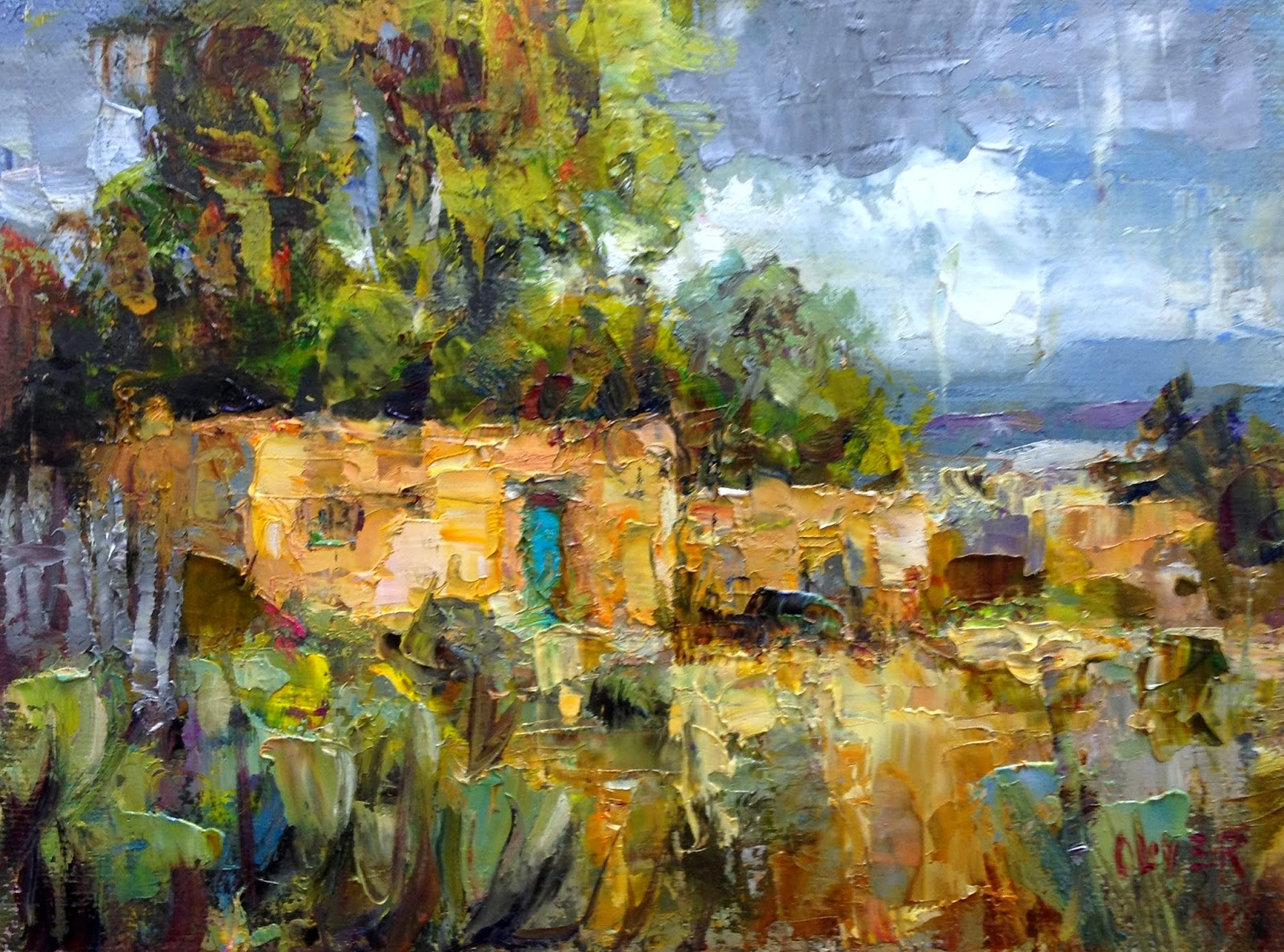 Art talk julie ford oliver new mexico adobe for Oil painting lessons near me