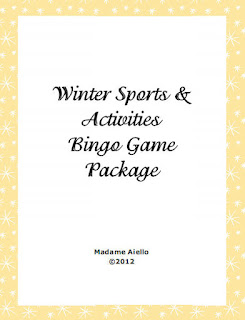 Image of Cover for Winter Sports & Activites French Bingo Package by Teaching FSL